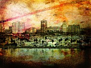 Port Holes Prints - Long Beach Print by Leah Moore