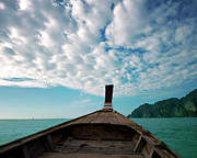 Koh Prints - Long Boat In Andaman Sea Print by Sharon Lapkin
