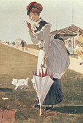 Umbrella Paintings - Long Branch by Winslow Homer