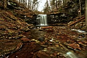 Pa State Parks Photos - Long Canyon Waterfall by Adam Jewell