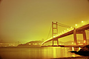 Ma Framed Prints - Long-exposed Photo Of Hks Tzing Ma Bridge Framed Print by Lim William