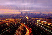 Traffic Prints - Long Exposure Of Cityscape Print by Albert Valles