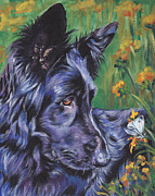 German Shepard Dog Prints - Long Hair Black German Shepherd Print by Lee Ann Shepard
