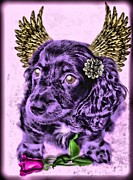 Puppy Posters - Long Hair Dashound Angel Poster by Tisha McGee