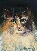 Felines Painting Prints - Long Haired Cat Print by Arline Wagner
