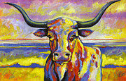 Steer Framed Prints - Long Horn at Sunset Framed Print by Leanne Wilkes