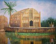 Iraq Painting Posters - Long Hut of the Marsh Arabs Poster by Ron Bowles