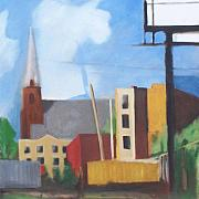 Landscapes Painting Originals - Long Island City Church by Ron Erickson