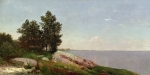 River Painting Metal Prints - Long Island Sound at Darien Metal Print by John Frederick Kensett
