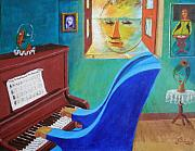 Pun Paintings - Long Island Sound The Pianoman by David G Wilson