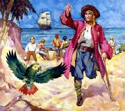Caribbean Sea Painting Metal Prints - Long John Silver and his Parrot Metal Print by James McConnell