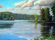 Overcast Day Paintings - Long Lake Hugo Minnesota by Rick Hansen
