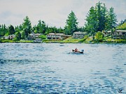 Waterscape Painting Metal Prints - Long Lake Metal Print by Zaira Dzhaubaeva