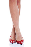 High Heeled Photo Prints - Long legs and red high heels Print by Richard Thomas