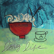Noodles Mixed Media Posters - Long Life Noodles Poster by Linda Woods