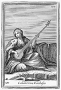 Lutenist Prints - Long Lute, 1723 Print by Granger