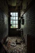 Abandoned Building Prints - Long Narrow Lavoratory Print by Gary Heller