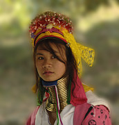 World Cultures Metal Prints - Long Neck Beauty Karen Tribe Metal Print by Bob Christopher