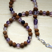 Meditation Jewelry - Long Necklace - Purple Fluorite - Rose Quartz - Vintage Mala Beads by Naomi Mountainspring
