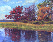 Fall Colors Art - Long Pond Reflections by Michael Camp