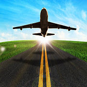 Airliner Prints - Long Road And Plane Print by Setsiri Silapasuwanchai