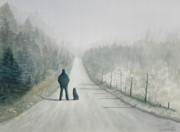 Man Painting Originals - Long Road Home by Ally Benbrook