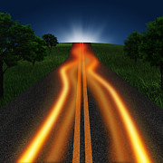Moving Metal Prints - Long Road In Twilight Metal Print by Setsiri Silapasuwanchai