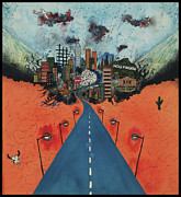 Stop Sign Mixed Media Prints - Long Road to Hollywood Print by Nadene Merkitch