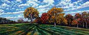 Fall Trees Posters - Long Shadows Poster by John Lautermilch