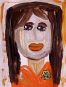 Outsider Art Paintings - Long Straight Hair by Mary Carol Williams