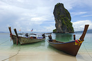 Ocean Scenes Prints - Long Tail Boats Thailand Print by Bob Christopher