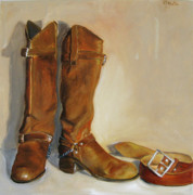 Brown Boots Painting Originals - long time ago in Mexico by Mohita Bhatnagar