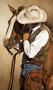 Cowboy Metal Prints - Long Time Partners Metal Print by Pat Erickson