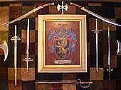 Coat Of Arms Paintings - Long Weaponry Wall by Nancy Rutland