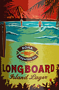 Kona Brewing Posters - Longboard Lager Poster by Bill Owen