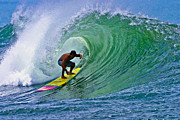 North Shore Prints - Longboarder in the Tube Print by Paul Topp