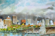 Longfellow Paintings - Longfellow Bridge Boston by Harding Bush