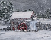 Longfellow S Grist Mill Painting Framed Prints - Longfellows Grist Mill In Winter Framed Print by Jack Skinner