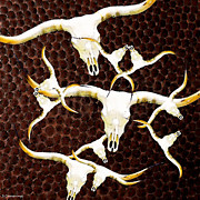 Bulls Posters - Longhorn Art - Cattle Call - Bull Cow Poster by Sharon Cummings