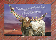 Longhorn Photos - Longhorn Bright Christmas Card by Robert Anschutz