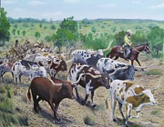 Cattle Drives Prints - Longhorn Cattle Print by Hoyt Gardner