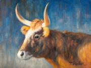 Longhorn Metal Prints - Longhorn Cow Basking in the Sun Metal Print by Theresa Paden