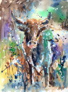 Steer Art - Longhorn Steer by Arline Wagner