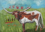 Steer Paintings - Longhorn by Susan  Spohn
