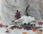 Longhorn Originals - Longhorn with Leaves by Roger Clark