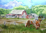 Ron Stephens Framed Prints - Longhorns and Old Barn Framed Print by Ron Stephens