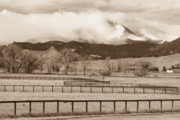 Lightning Wall Art Framed Prints - Longs Peak - Storm and Fences - Sepia Image Framed Print by James Bo Insogna