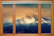 Mount Meeker Framed Prints - Longs Peak and Mount Meeker Wood Window View Framed Print by James Bo Insogna