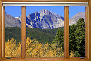 Landscape Picture Framed Prints - Longs Peak Autumn Window View Framed Print by James Bo Insogna
