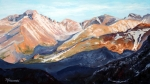 Mountain Road Painting Posters - Longs Peak from Trail Ridge Road Poster by Mary Giacomini